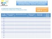 formulaire d inscription concours international 2 fr