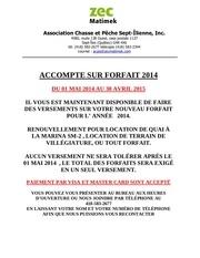 accompte forfait 2014