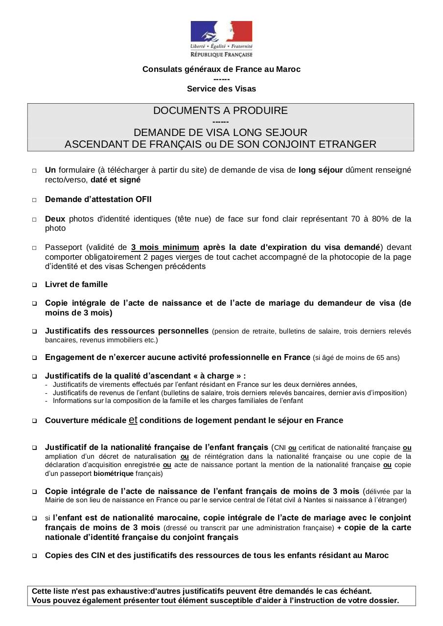 consulat general de france visa ascendant fr france fichier pdf. Black Bedroom Furniture Sets. Home Design Ideas