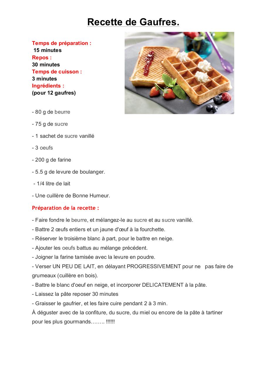 recette de gauffres docx - recette de gauffres pdf