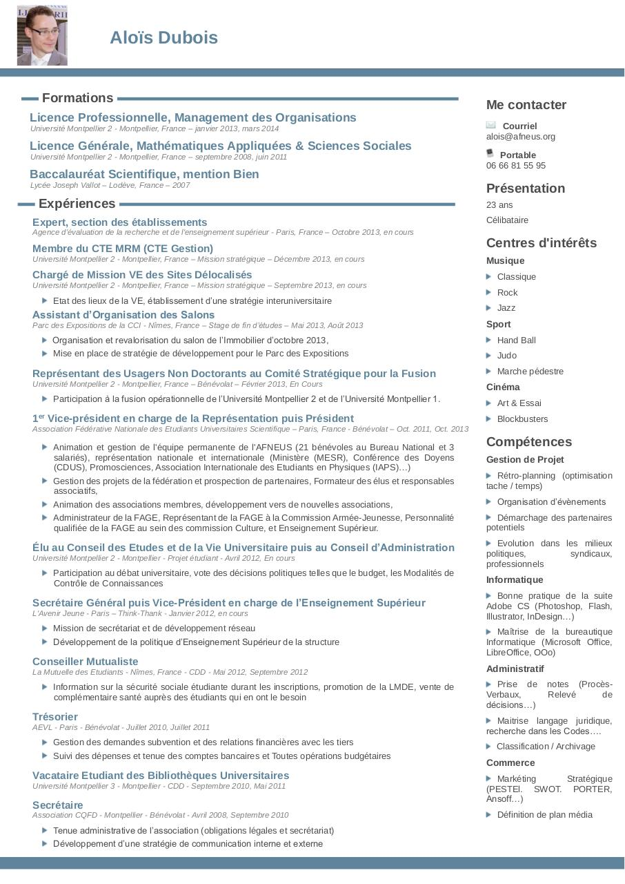 cv alo u00efs dubois  d u00e9cebmre 2013 par alois dubois - cv chef de projet pdf