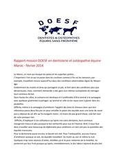 rapport mission au maroc janvier 2014