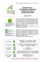 calendrier marches a la ferme et des producteurs entre deux mers 2014