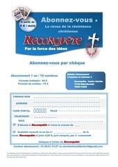 bulletin abonnement par cheque a reconquete