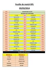feuille de match rpl 9mars2014