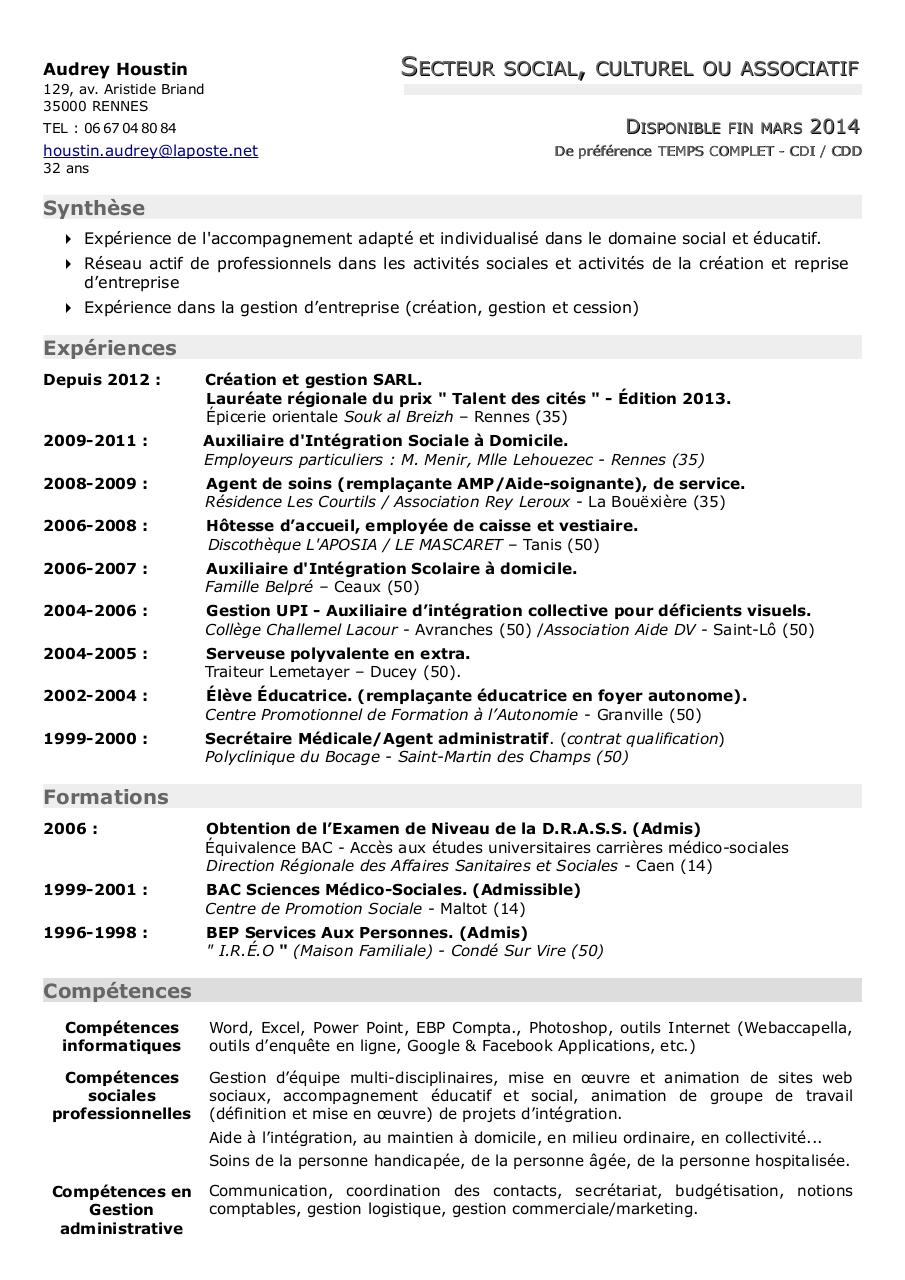 cv audrey houstin secteur social pdf par audrey houstin