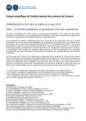 communique csi insu mars 2014