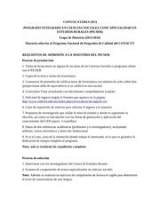 convocatoria maestr a estudios rurales 2014