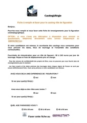renseignements casting france 2014