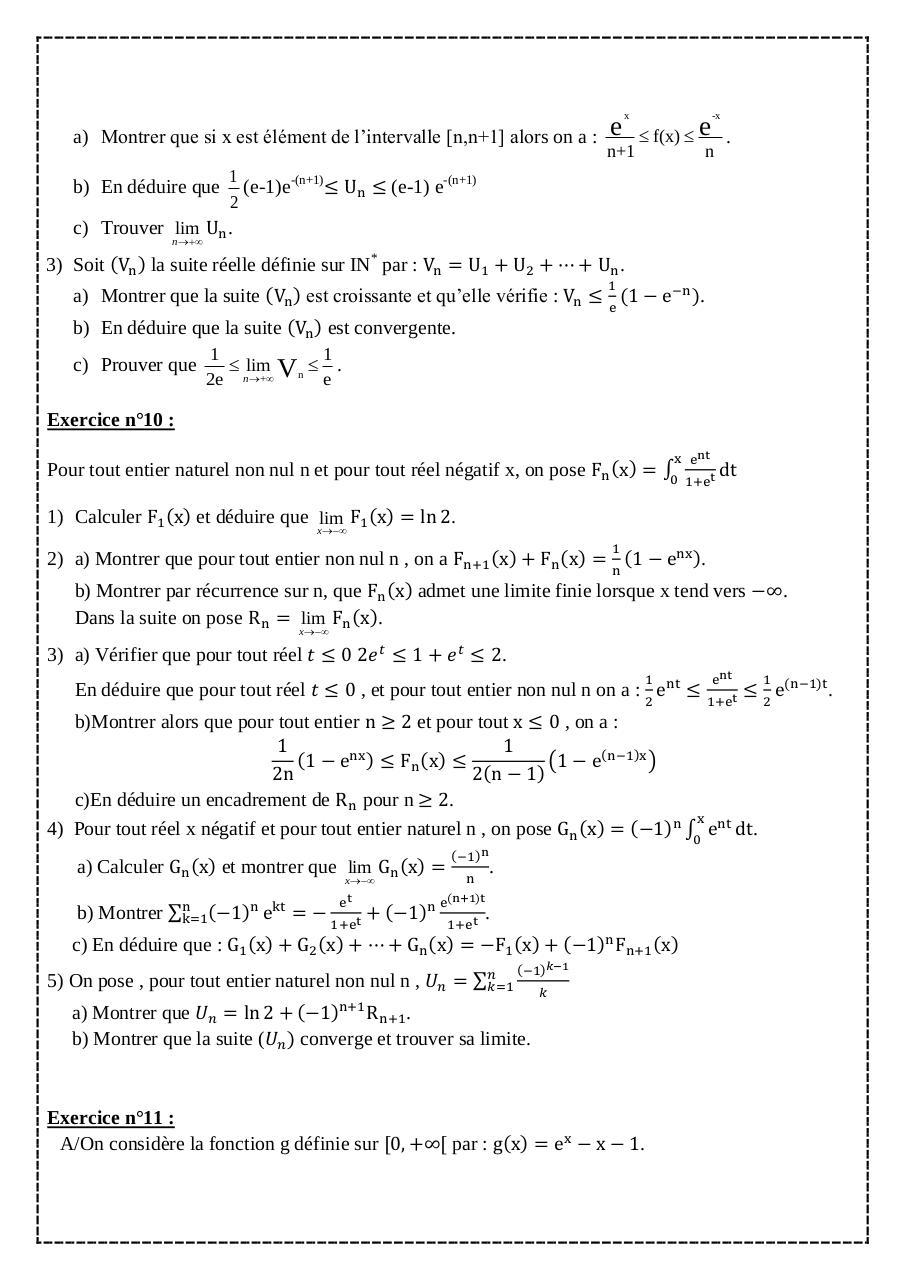 série Exercices fonctions exponentielles bac Math ...