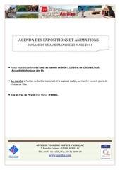 agenda du samedi 15 au dimanche 23 mars 2014
