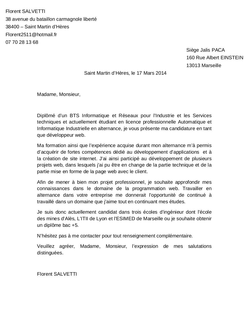 Lettre motivation informatique modele lettre motivation emploi