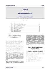 algerie relations de travail