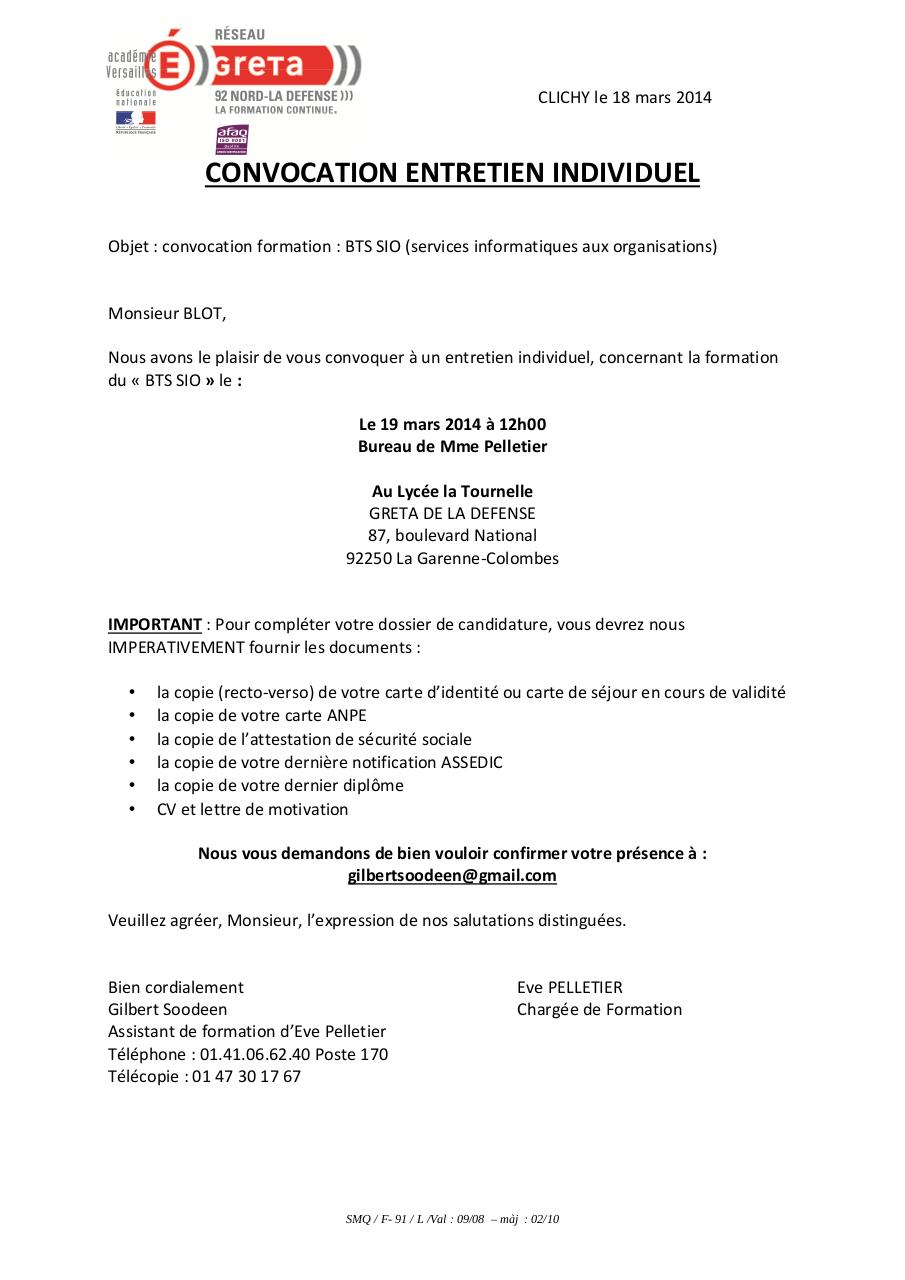 convocation envoye par mail entretien ind 19mars blot par assistform6