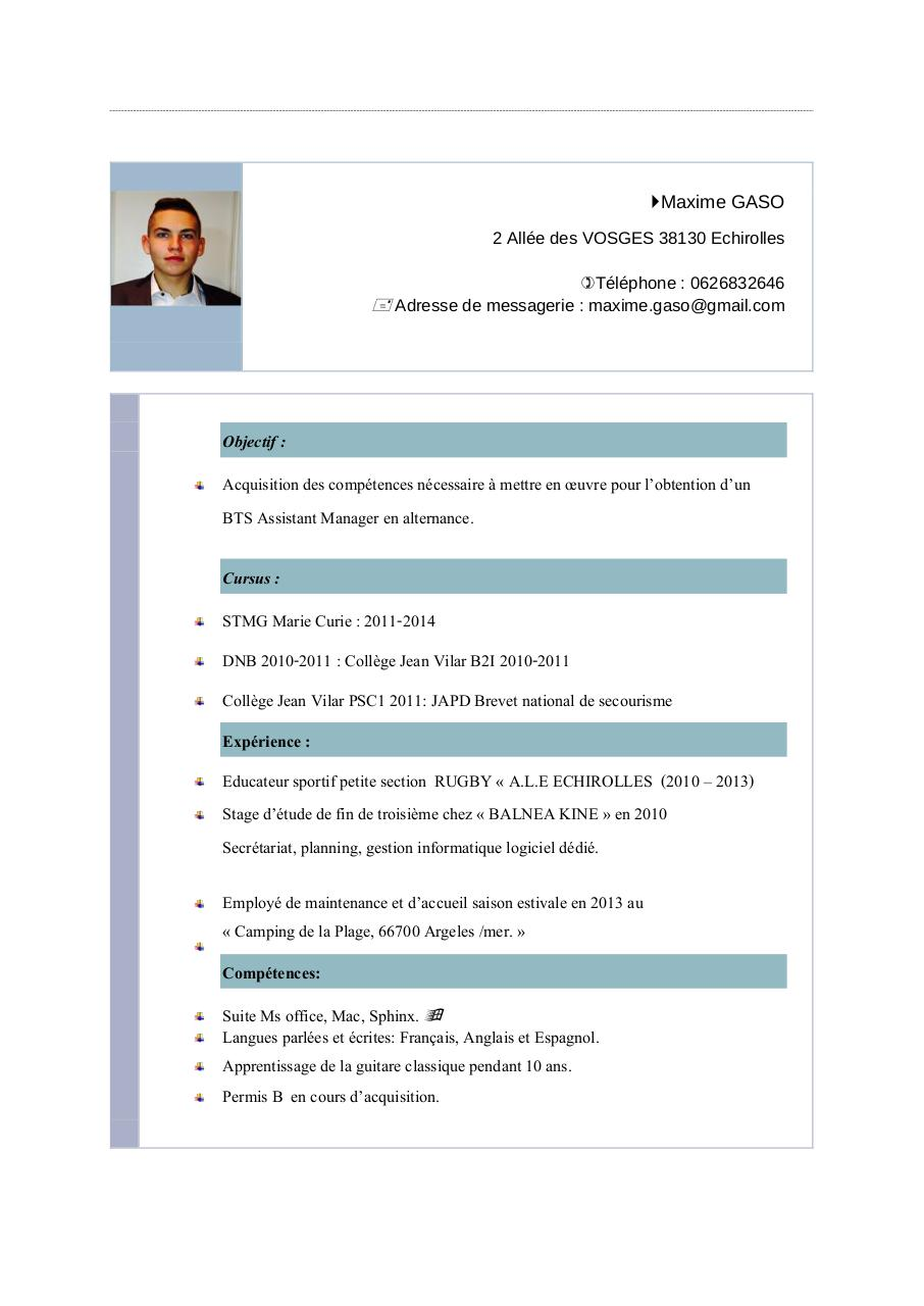 resume  origin theme  par maxime gaso - cv maxime bis assistant manager pdf