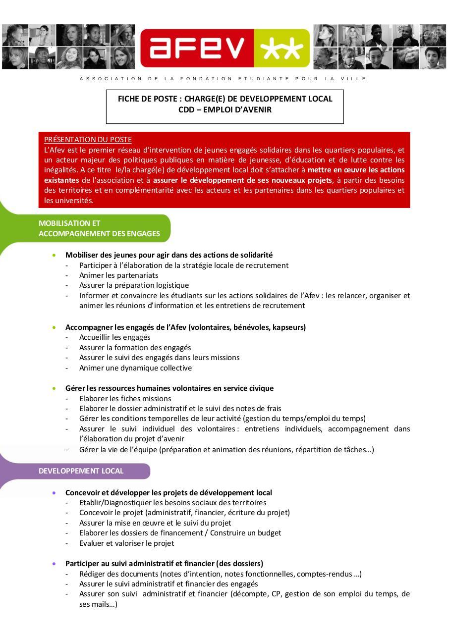 Fiche de poste CDL par BONNICHON - Fichier PDF