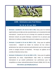 programme seminaire fred waters
