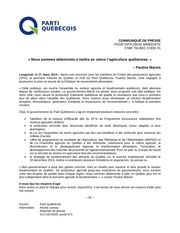 comm agriculture quebecoise
