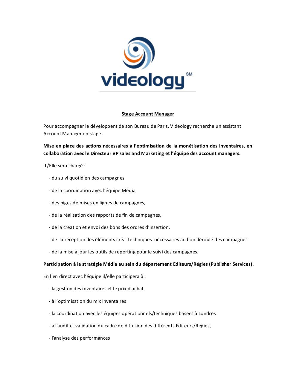 Aperçu du document Stage Account Manager VIDEOLOGY.pdf - page 1/2