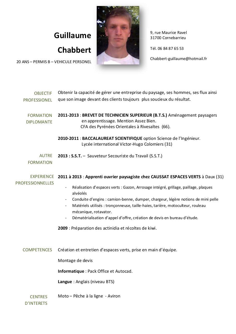 cv par guillaume - page 1  1