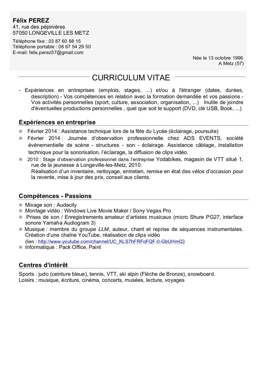 cv f u00e9lix docx par sandrine corne - cv f u00e9lix pdf