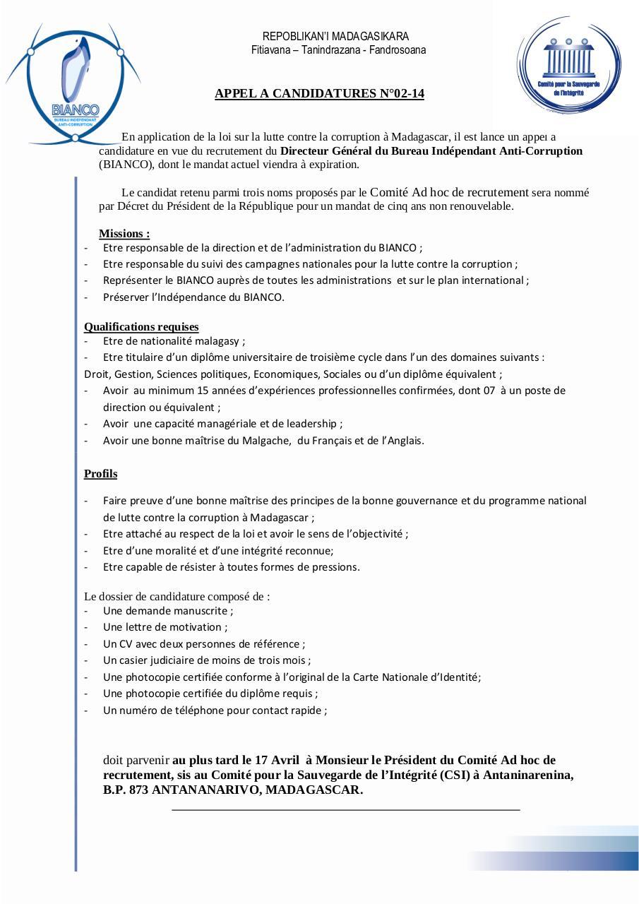 appel candidature dg  u00e0 envoyer par utlisateur - appel candidature dg pdf