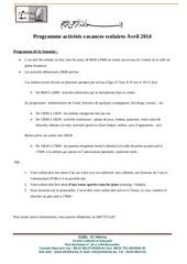 parascolaire avril 2014 programme