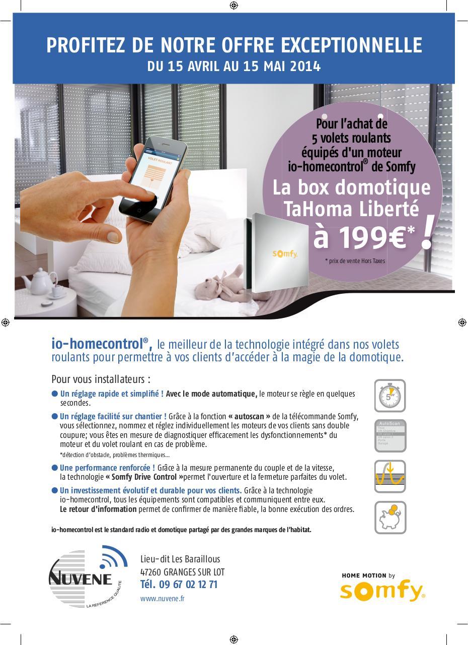 promo nuvene sur produits somfy fichier pdf. Black Bedroom Furniture Sets. Home Design Ideas
