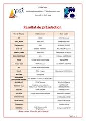 Fichier PDF resultat preselection
