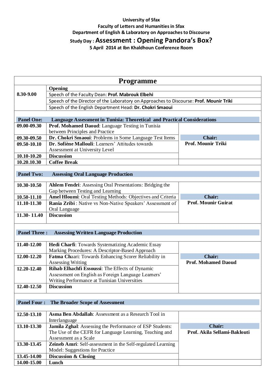 Aperçu du document Programme of the Study Day on Assessment.pdf - page 1/1