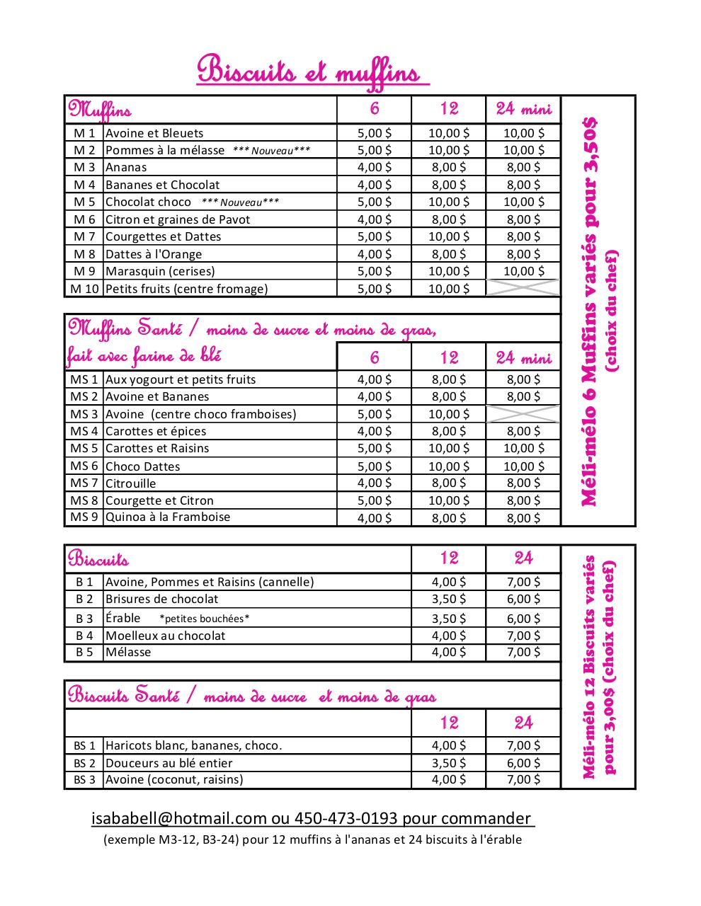 liste de prix muffins et biscuits de isa par isabelle fichier pdf. Black Bedroom Furniture Sets. Home Design Ideas
