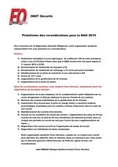 plateforme des revendications pour la nao 2014