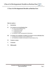 l eau et le developpement durable au burkina faso 1