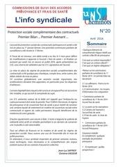 info syndicale n 20 commissions de suivi des accords prevoyance et frais de sante