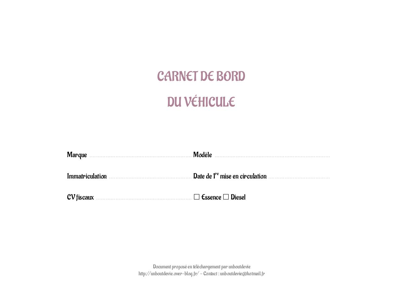 Carnet D Entretien Du Vehicule Par Flavie Http 1boutdevie Over Blog Fr Fichier Pdf