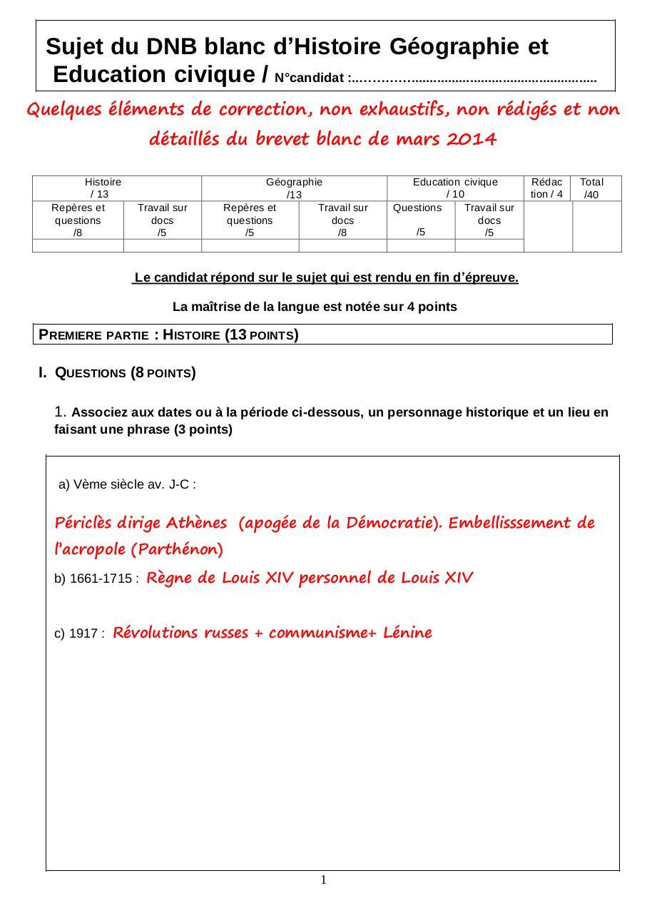 Sujet Brevet Histoire 2013 Pdf Corrigé - Aperçu Historique