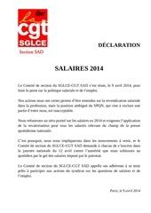 sad declaration politique salariale 2014