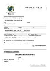 Fichier PDF demande numero et attestation numero