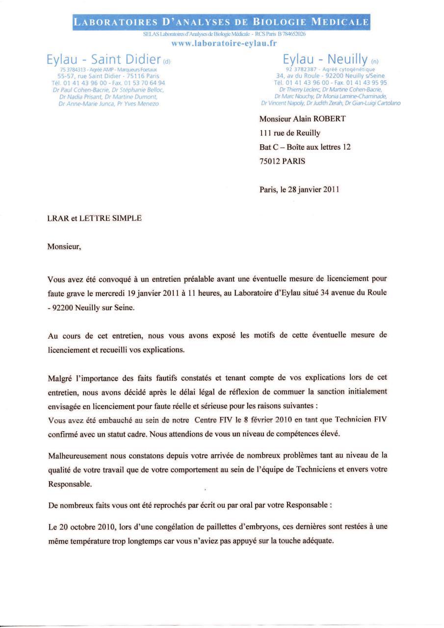 Lettre Licenciement Rar 28 01 2011 Et Observations Par Alain 3