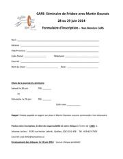 formulaire inscription seminaire frisbee non membre