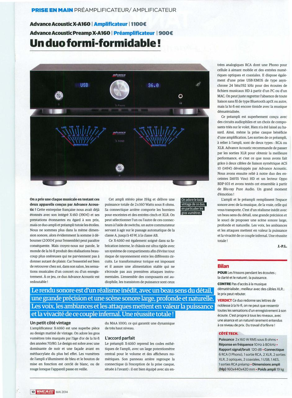 What Hifi France May 2014 X Preamp X A160 - Fichier PDF
