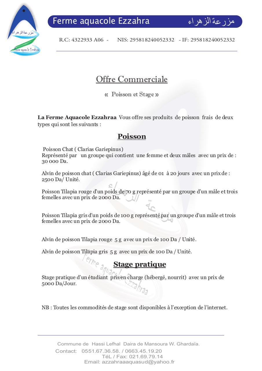 sauvegarde de modele 1 cdr par soumya offre commerciale ezzahraa1 pdf fichier pdf