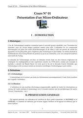 Fichier PDF cours presentation d un micro ordinateur