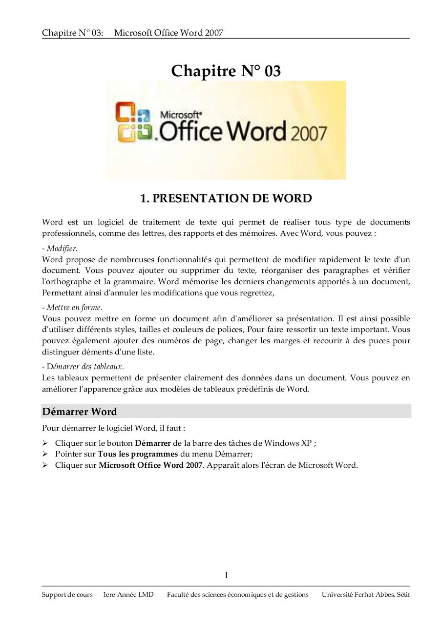 Cours Word 2007.pdf - page 1/32