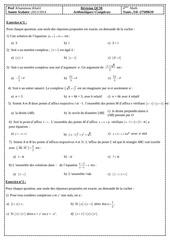 revision qcm complexes et arithmetiques bac math