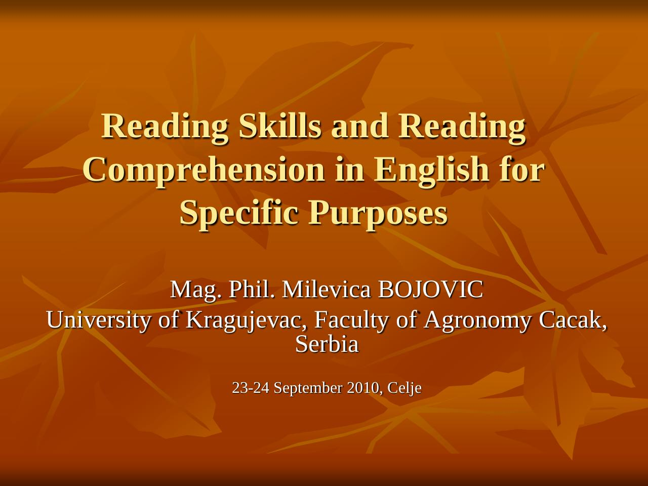 Aperçu du document Reading Skills and Reading Comprehension in English for Specific Purposes.pdf - page 1/23