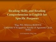 reading skills and reading comprehension in english for specific purposes