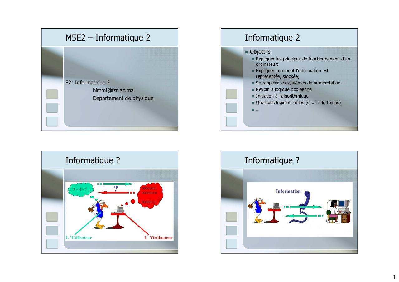 PDF Initiation l informatique cours et formation gratuit