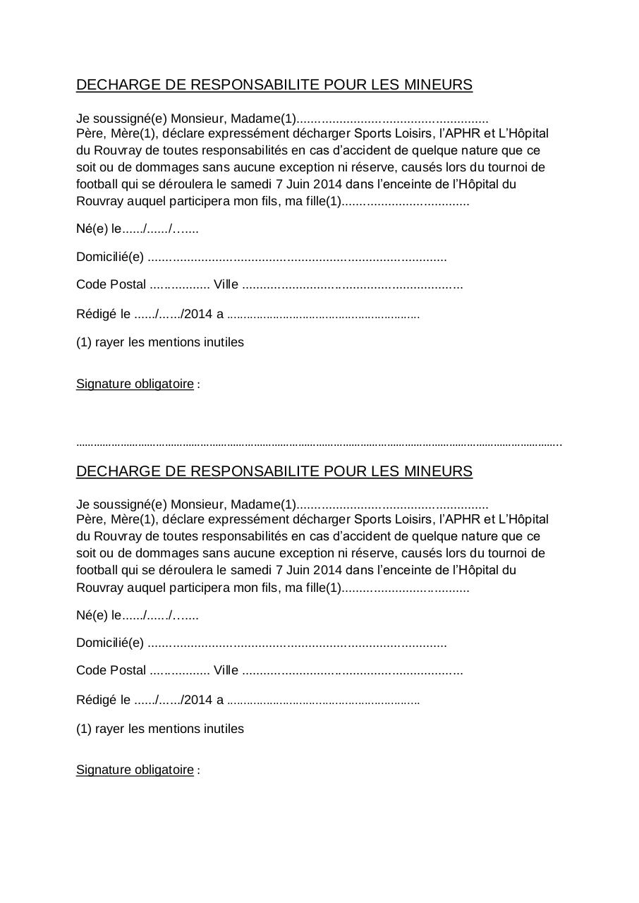 decharge de responsabilite pour les mineurs par balme fichier pdf. Black Bedroom Furniture Sets. Home Design Ideas