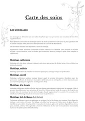 carte des soins